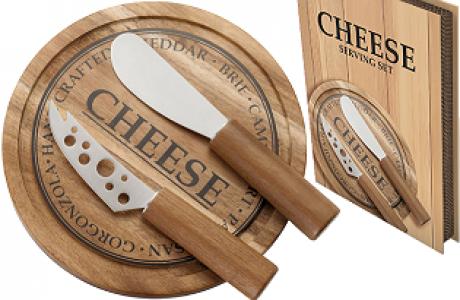 סט לחיתוך והגשת גבינות בעיצוב כפרי