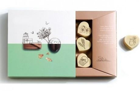 מארז שוקולד ממותג לשבועות - 6 פרליני שוקולד לבן