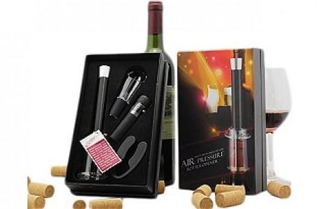 פותחן יין פנאומטי ואביזרים ליין בערכת מתנה