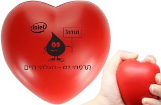 כדור לחץ ממותג בצורת לב