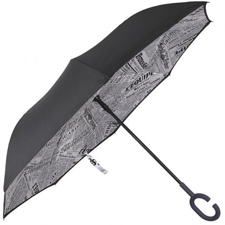 מטריה הפוכה ממותגת בעיצוב גזרי נייר עיתון