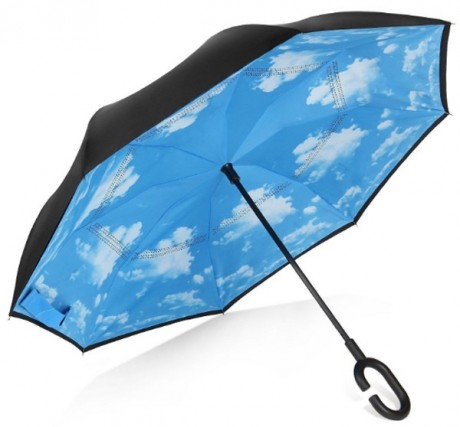 מטריה הפוכה ממותגת עם בטנה בעיצוב שמים
