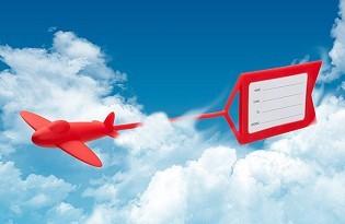 תג למזוודה בעיצוב מטוס