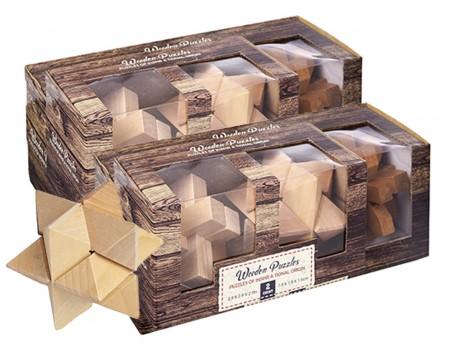 3 משחקי חשיבה מעץ באריזה מעוצבת