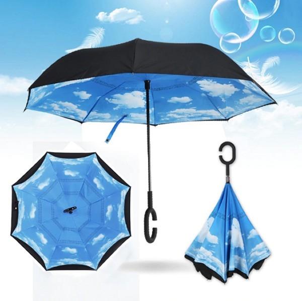 מטרייה מתהפכת עם בטנה בעיצוב שמים