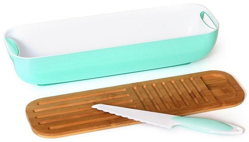 קופסת אחסון ללחם/עוגה עם קרש חיתוך וסכין
