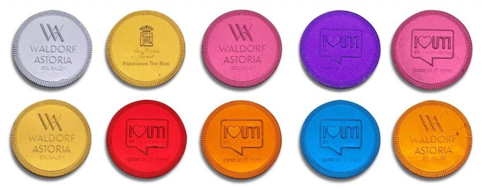מטבעות שוקולד עם הטבעה - צבעוניות חלבי (מינימום 1000 יח')