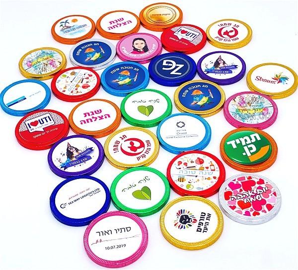 מטבעות שוקולד עם מדבקה - צבעוניות חלבי (מינימום 1000 יח')