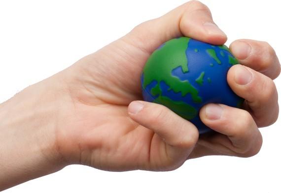 כדור גומי לחיץ בצורת כדור הארץ עם לוגו חברה