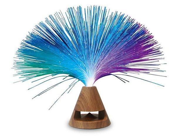 רמקול בלוטות' מנורת סיבים אופטיים - בסיס בגימור עץ