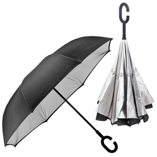 מטריה הפוכה ממותגת עם בטנה כסופה - שחור בחוץ