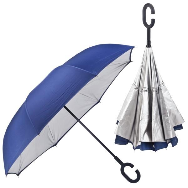 מטריה הפוכה ממותגת עם בטנה כסופה - כחול בחוץ