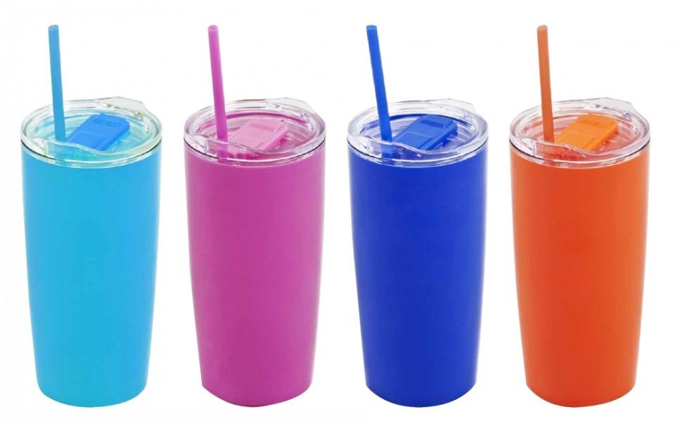 כוס תרמית בעיצוב מדליק ומרענן. מוצעת ב-4 צבעים לבחירתכם: כחול, תכלת, כתום, ורוד