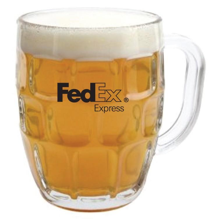 כוס בירה מזכוכית עבה ועמידה עם ידית, דגם