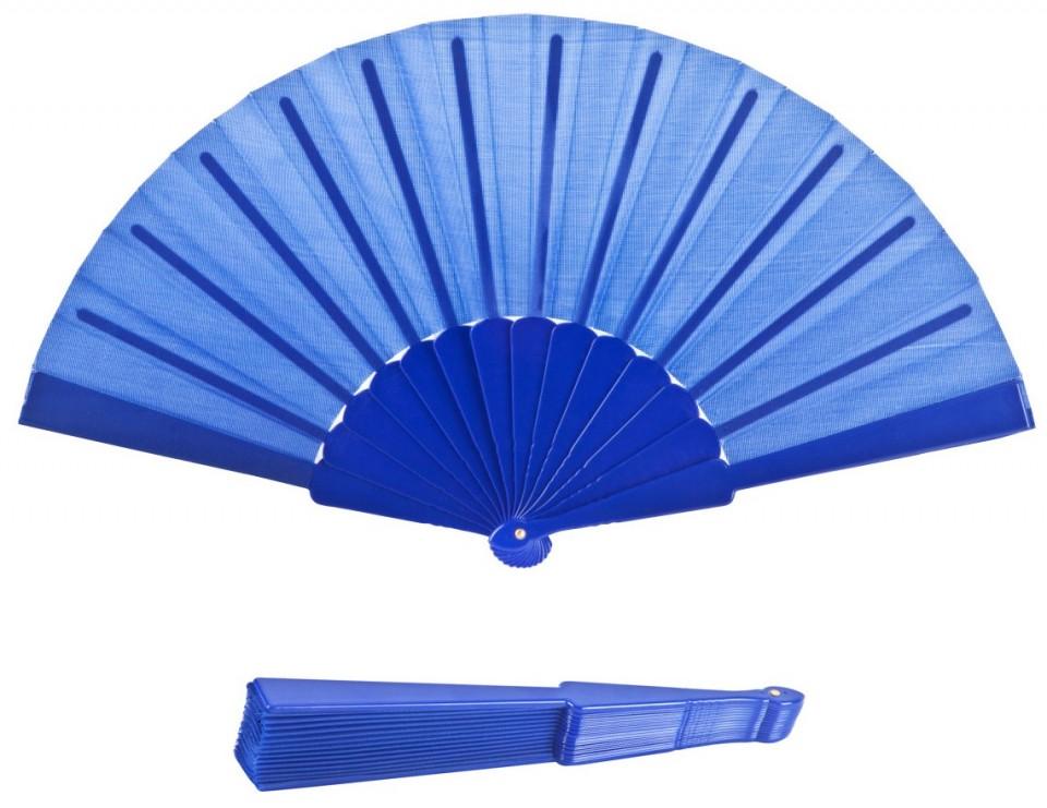 מניפת יד מתקפלת בעיצוב קלאסי עם ידית פלסטיק - כחול
