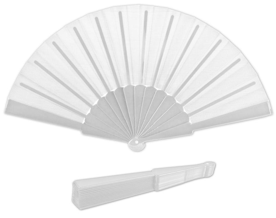 מניפת יד מתקפלת בעיצוב קלאסי עם ידית פלסטיק - לבן