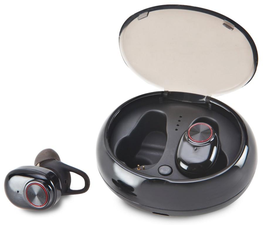 זוג אוזניות כפתור בלוטוס בטכנולוגיית TWS חדשנית - שחור