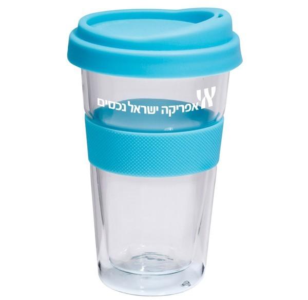 כוס טרמית מזכוכית עם מיתוג לוגו חברה