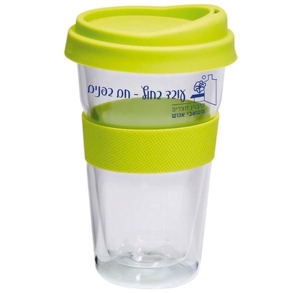 כוס תרמית מזכוכית עם לוגו וכיתוב