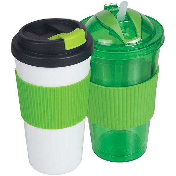 סט 2 כוסות תרמיות בעיצוב תואם - ירוק