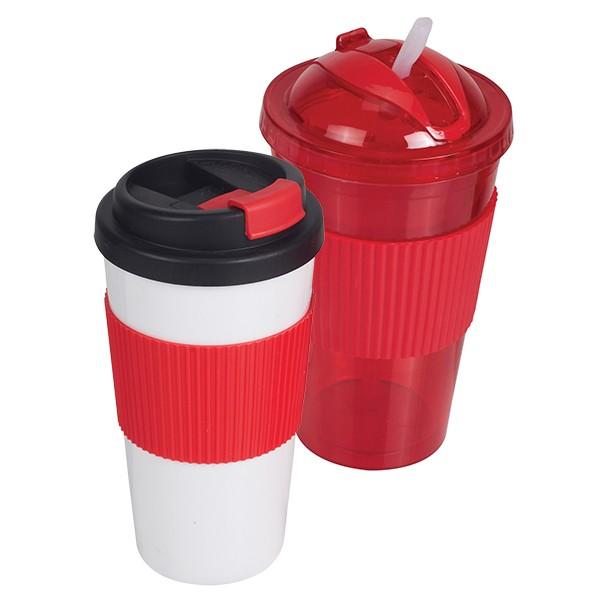 סט 2 כוסות תרמיות בעיצוב תואם - אדום