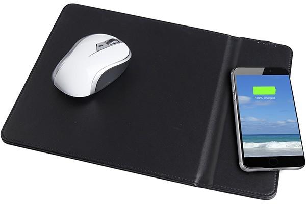 פד לעכבר מחשב ומשטח טעינה אלחוטי במוצר אחד - שחור דמוי עור