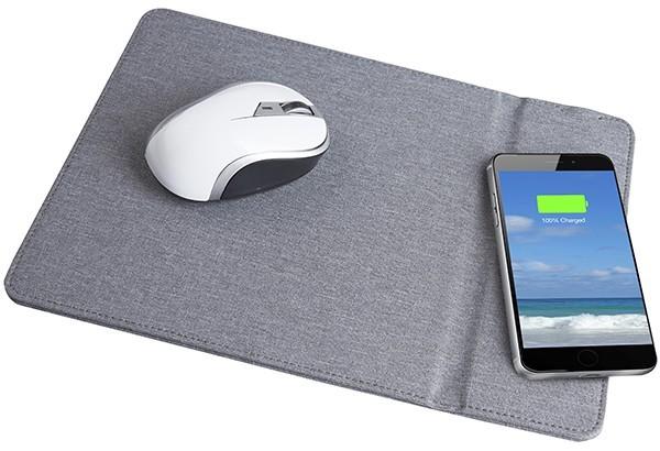 פד לעכבר מחשב ומשטח טעינה אלחוטי במוצר אחד - אפור עשוי מבד