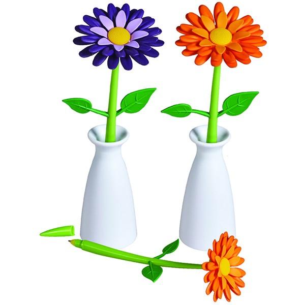 עט בעיצוב פרח עם מעמד בצורת אגרטל
